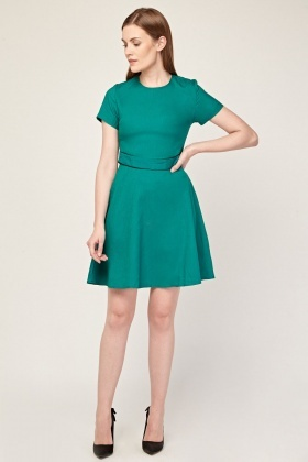 Belted Front Green Swing Dress