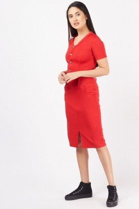 Button Front Textured Midi Dress