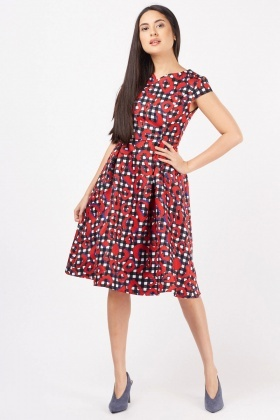 Cap Sleeve Printed Midi Dress