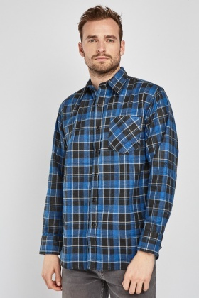 Checkered Open Front Pocket Shirt