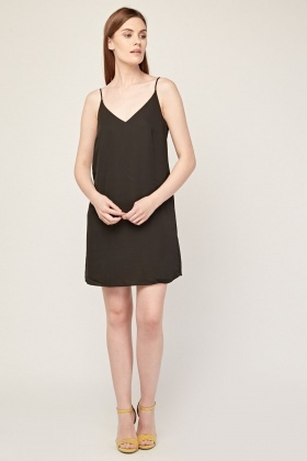 Chiffon Slip-On Black Dress