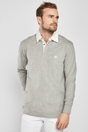 Embroidered Long Sleeve Polo Shirt