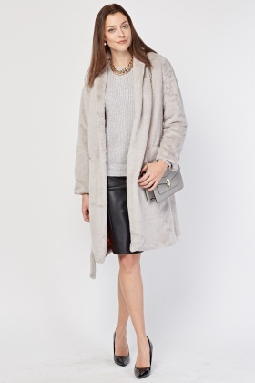Faux Fur Light Grey Belted Coat