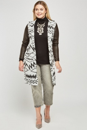 Faux Leather Sleeve Aztec Print Coat