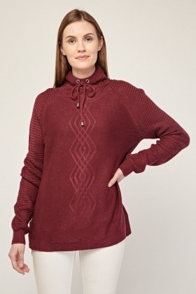 High Neck Cable Knit Magenta Jumper