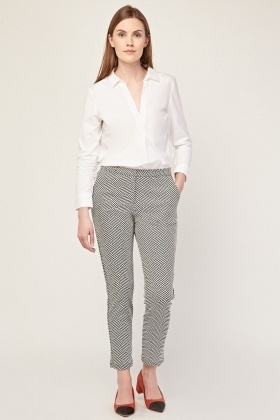 Illusion Print Peg Trousers
