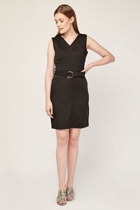 O-Ring Belted Shift Dress