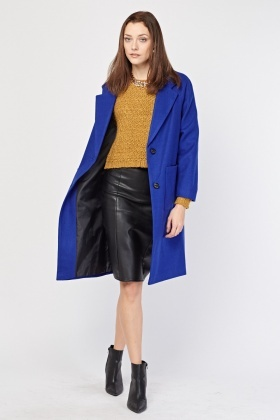 Oversized Pocket Front Felt Coat