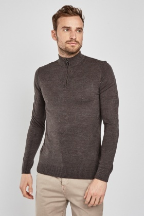 Ribbed Trim Zip Up Jumper