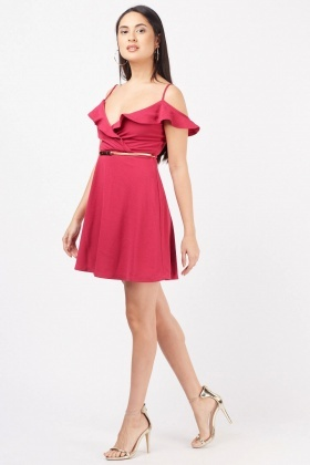 Ruffle Overlay Wrap Swing Dress