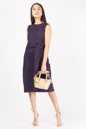 Textured Tie Up Midi Dress