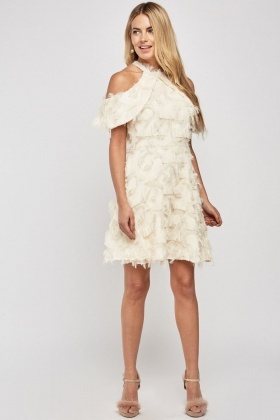 Cold Shoulder Mini Fringed Dress