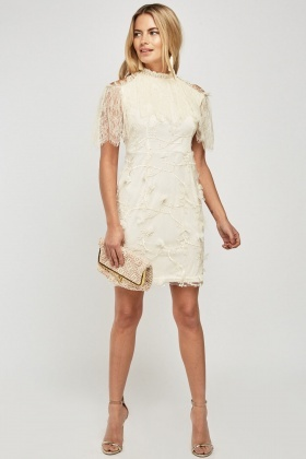 Cut Out Embroidered Lace Dress