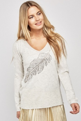 Encrusted Feather Front Knit Top