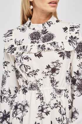 5a4a7db5ebe Floral Pleated Trim Tunic Dress - Just £5