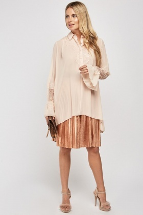 Lace Insert Sheer Oversized Blouse