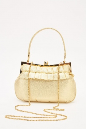 Metallic Pleated Push Clip Bag