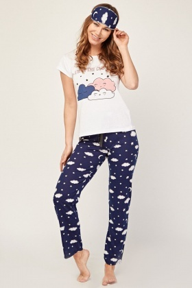 Novelty Cloud Print Pyjama Set