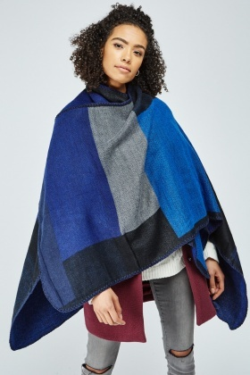 Overlapped Colour Block Poncho