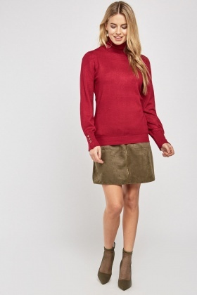 Plain Turtleneck Knit Jumper