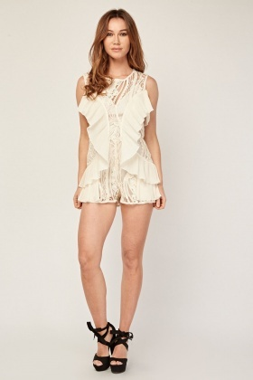 Pleated Ruffle Mesh Contrast Playsuit