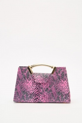 Snake-Skin Pattern Chain Strap Bag