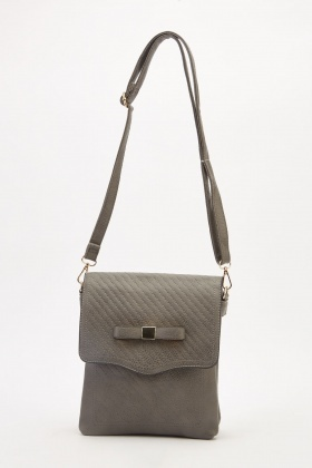 Stitched Bow Trim Cross-Body Bag