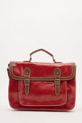 Stitched Trim Satchel Bag