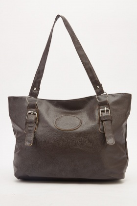 Textured Faux Leather Classic Handbag