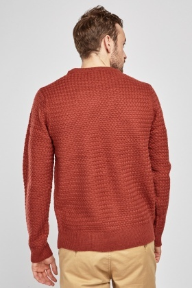 Textured Knitted Long Sleeve Jumper