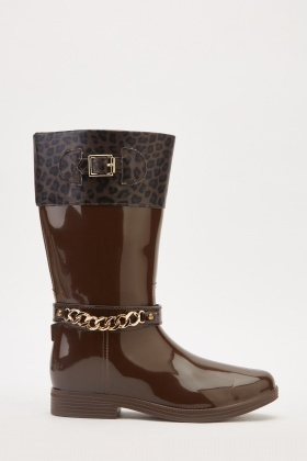 Contrasted Animal Print Wellington Boots