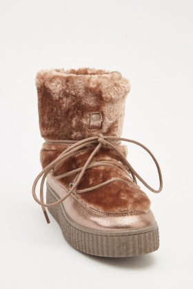 Contrasted Metallic Lace Up Winter Boots