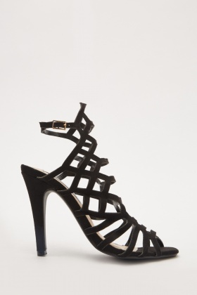 Cut Out Suedette Heels