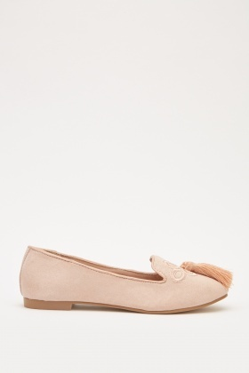 Embroidered Suedette Ballet Pumps