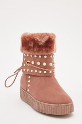 Faux Pearl Fur Trim Winter Boots