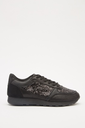 Glittered Contrast Lace Up Trainers