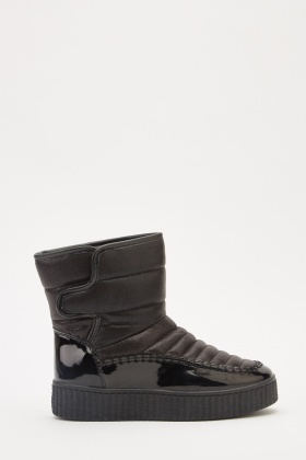 Hi-Shine Contrasted Winter Boots