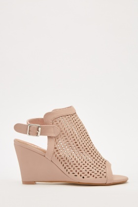 Laser Cut Open Toe Wedge Shoes