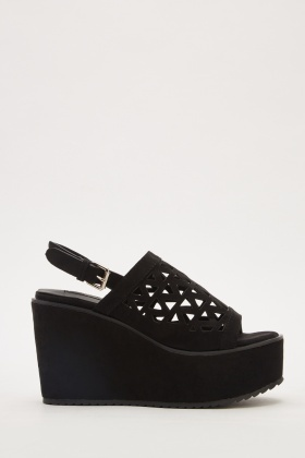 Laser Cut Slingback Wedge Shoes