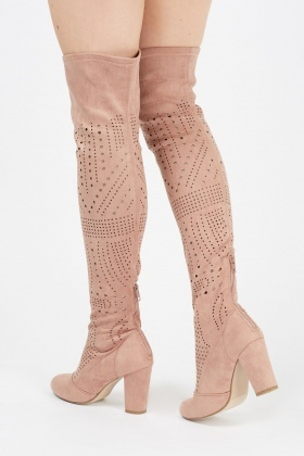 c49aae0f4d6 Laser Cut Suedette Zip Up Thigh High Boots - Just £5
