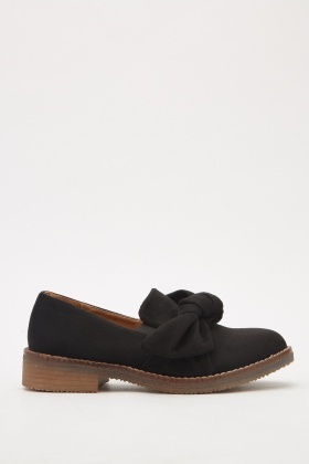 Suedette Bow Loafers