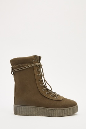 Suedette Lace Up Platformed Boots