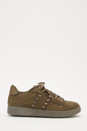 Suedette Studded Lace Up Trainers