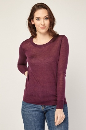Contrasted Back Fine Knit Sweater