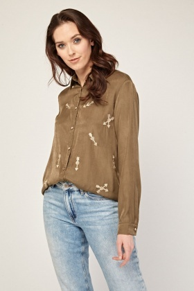 Embroidered Metallic Arrow Shirt