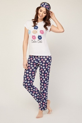Novelty Cat Print Pyjama Set