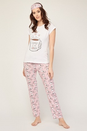 Novelty Mug Print Pyjama Set