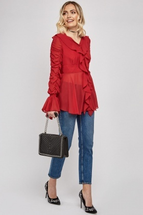 Ruched Ruffle Sleeve Sheer Blouse