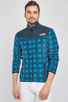 Zip Up Checkered Jumper