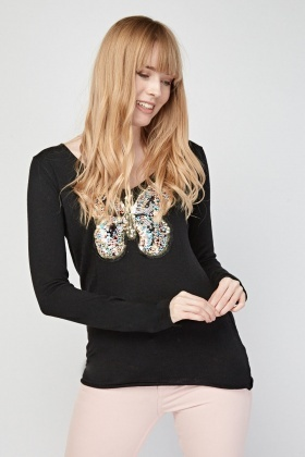 Butterfly Sequin Applique Knit Top